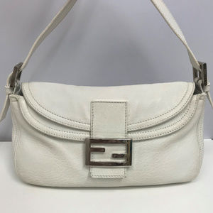 FENDI White Leather Baguette Bag Silver FF Logo